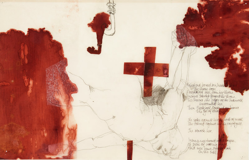 Rose from her Throne,  2014, etching, drawing,ink, collage and encaustic on paper, 52x81cm