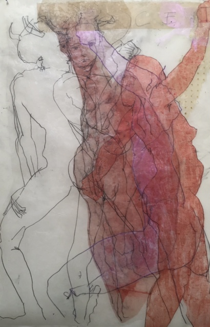 'Facets'  Encaustic, acrylic, etching, drawing, collage, on Kozo paper. Framed size: 63.5x91.5cm