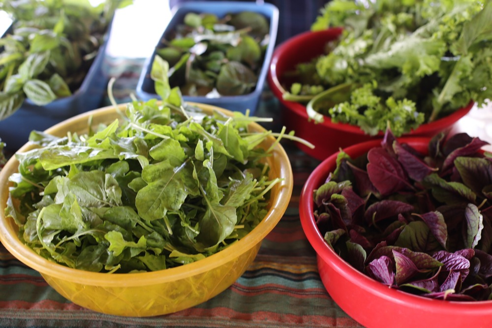 Organic greens at the Tuesday market