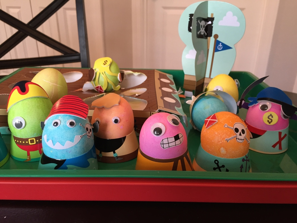 Our pirate themed eggs.... mostly made by my husband with some help from the kiddos.