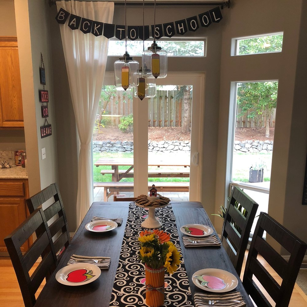 "You might be thinking, ""surely a child doesn't care about these details"" but you've clearly never met my daughter! I had her leave the room while I decorated and she delighted over every single detail — her favorites being the pencil vase and the chalkboard banner."