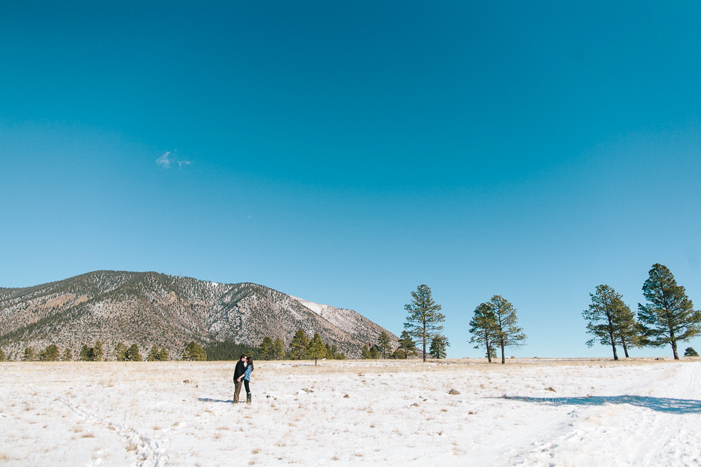flagstaff engagement session in the snow