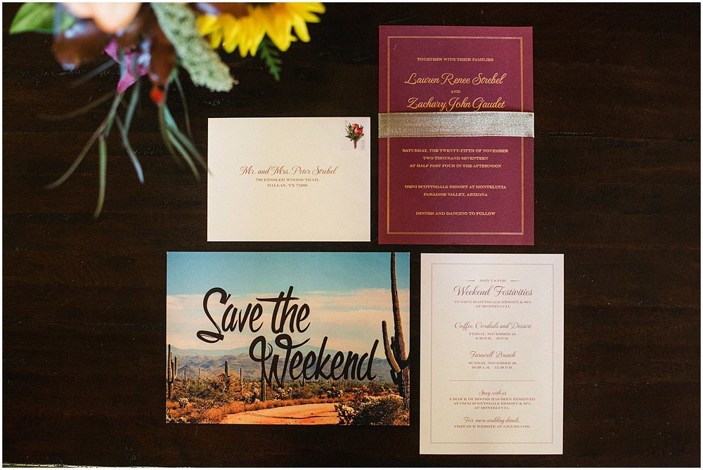 Wedding at Omni Montelucia Scottsdale, save the date, save the weekend