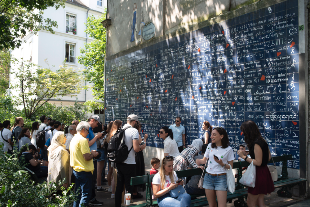 The overcrowded Love Wall in Paris