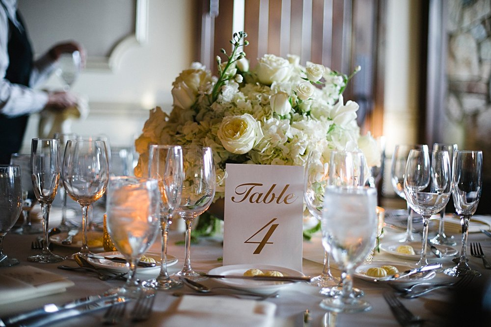 Wedding details, a reception set up at Paradise Valley Country Club