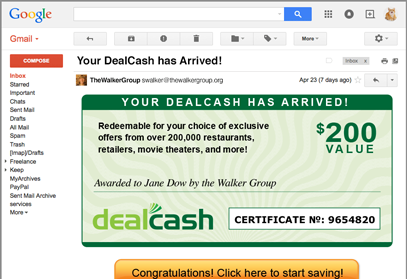 An example of DealCash online fulfillment, managed by Access
