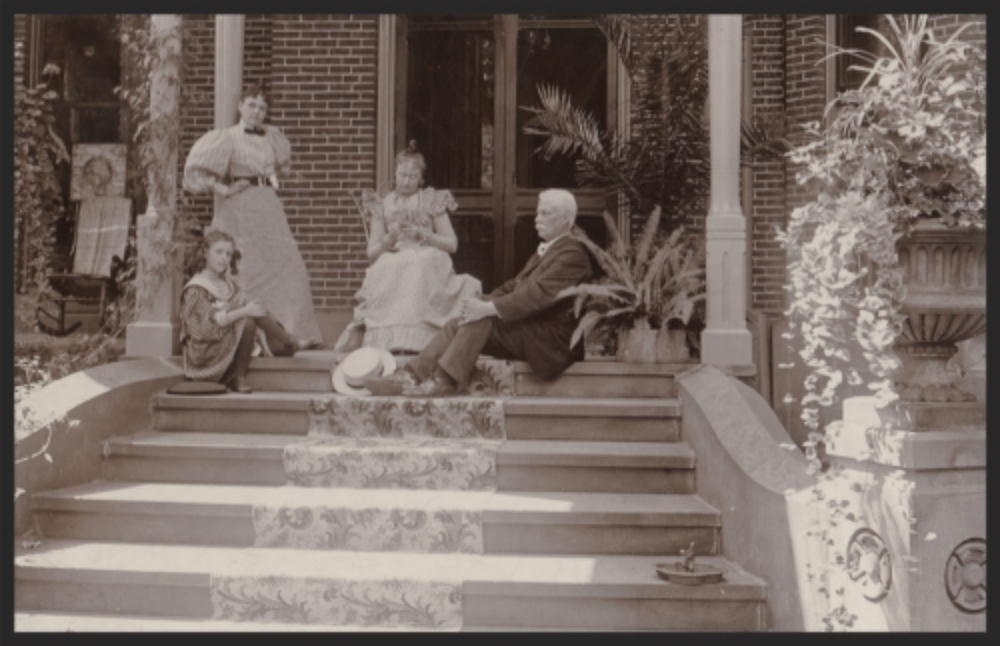 Baldwin family members on the porch