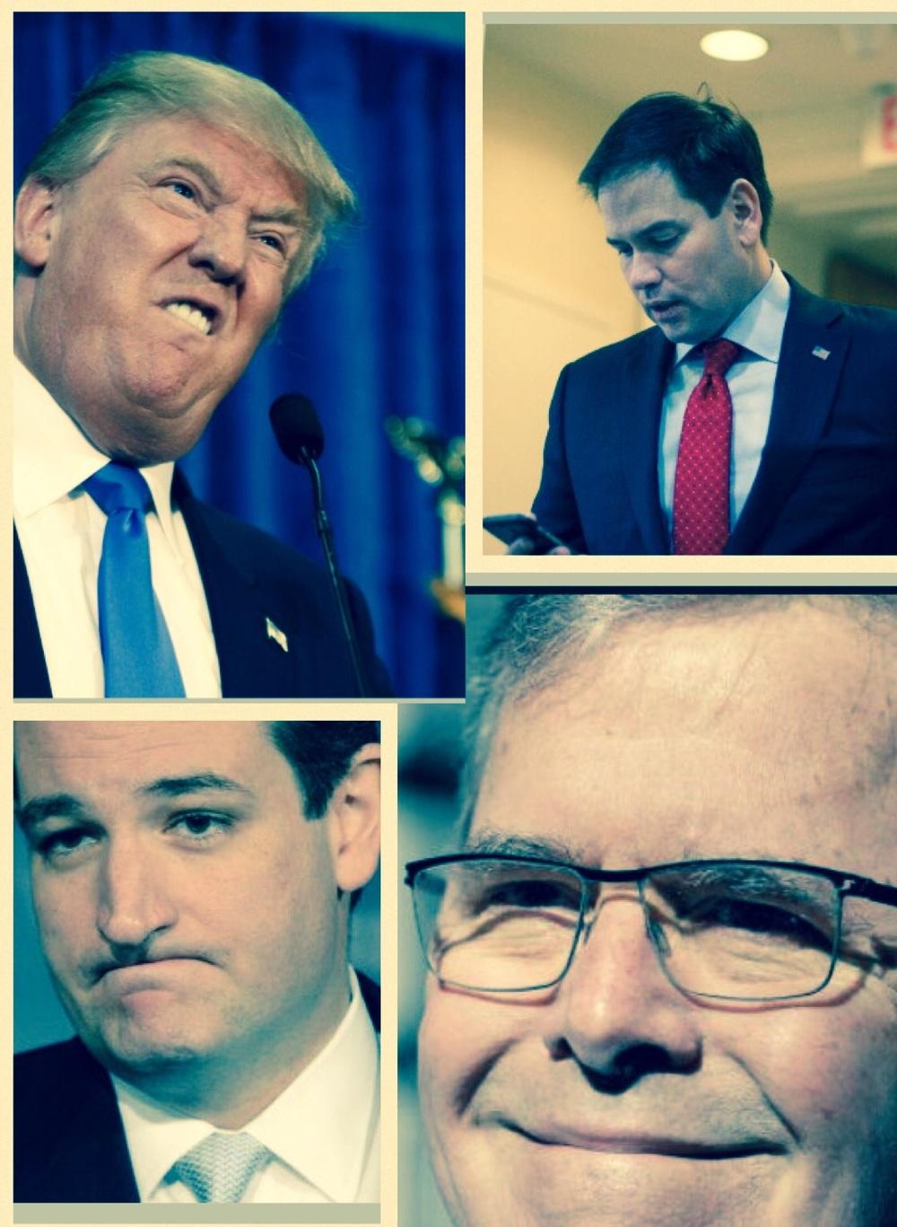 Clockwise from top left: Trump, Rubio, Bush, Cruz