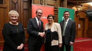 Annette King, Andrew Little, Metiria Turei, James Shaw at the signing of the MoU.