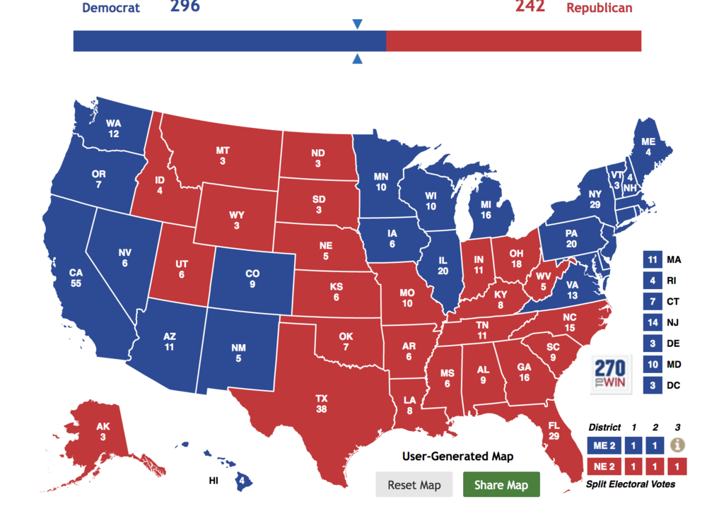 The Electoral College based on states where Trump's disapproval exceeds 50 percent (SourceL MorningConsult)
