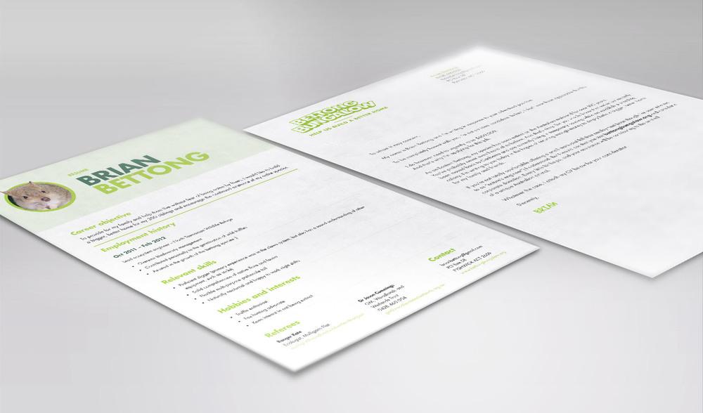 Brian's résuméand cover letterweresent out to businesses as DM pieces.