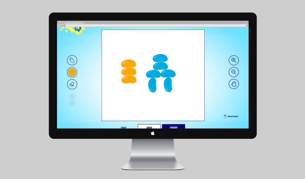 Users had an interactive jelly bean interface with which to create their images.