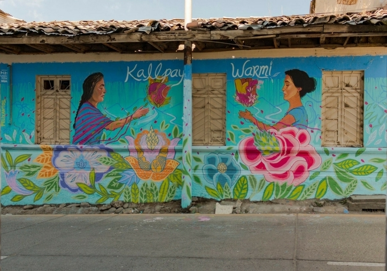 "One of our grantees, Saphichay in Hauncayo Peru, honors and celebrates Indigenous Women and Indigenous Identity. This mural was painted by artists participating in the organization's annual festival ""Kallpay Warmi"" in 2017."