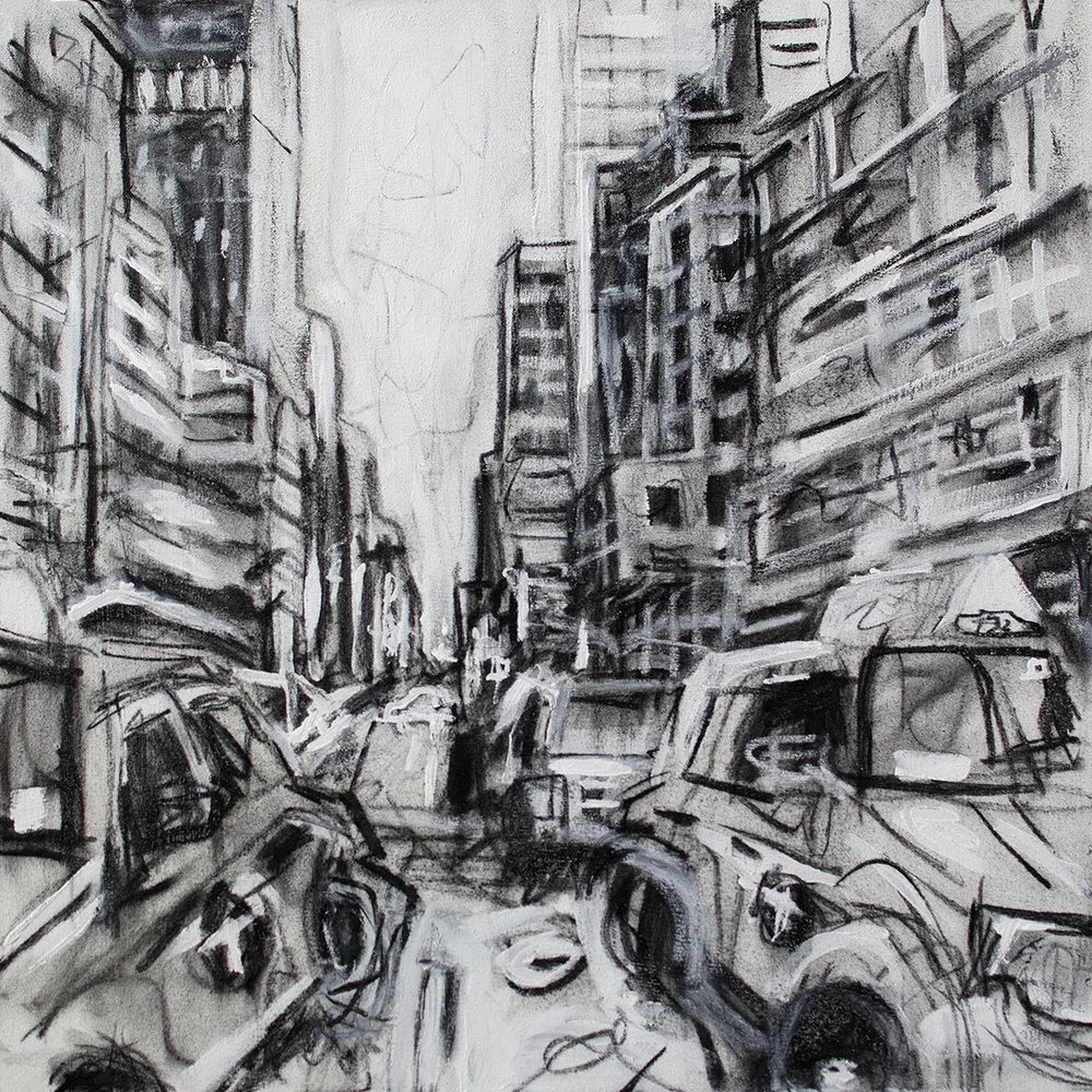 """Taxi Cab - 24"""" x 24"""" - Mixed Media"""