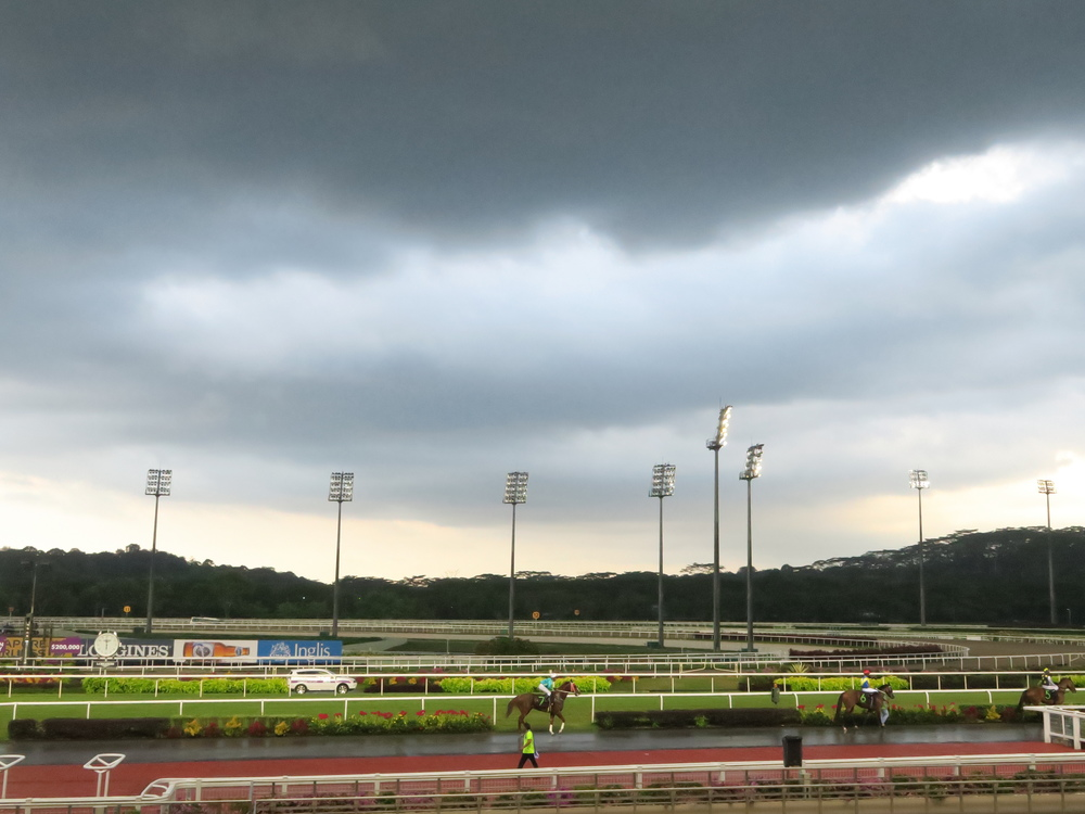 As a day-trip to the Singapore Turf Club racecourse, organised by the PSS, came to an end these dark clouds rolled in.  Good dynamic range and punchy colours in this shot.
