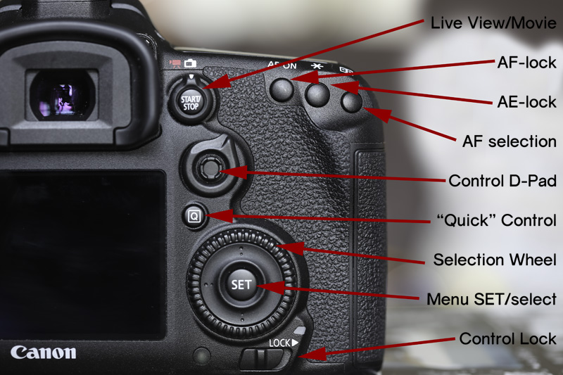 Canon 7D Mark 2 Controls Explained - Part 1 Most of these are pretty standard across virtually the entire Canon range. The live view/movie mode control is one I particularly like and lets you shoot using Live View or enter movie mode in one button, but in such a way that you don't accidentally turn movie mode on when you really want to compose using the rear screen. A definite improvement over the entry-level models that tend to use the mode dial. The AF & AE lock buttons function identically to other models, as do the standard selection wheel/SET & lock buttons. Around the control d-pad is the AF mode selection slider. The AF mode select button is a little more involved given the AF system the camera has and I'll cover the details of that elsewhere in the review.