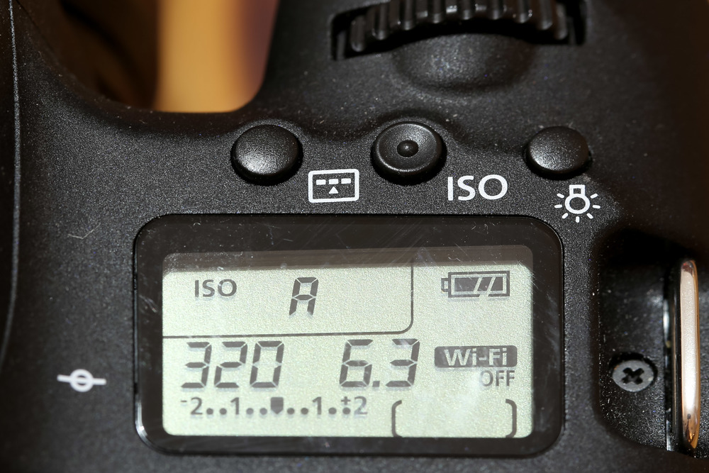 Here's a view of the new LCD screen, a first on any entry-level Canon DSLR. Long overdue in my opinion. It does the bare minimum, covering your exposure triangle settings, battery life, card capacity and an exposure indicator. Not quite as comprehensive as its bigger brothers but still, definitely welcome.  The buttons above are all standard too with the exception of the left hand button - this is the one which cycles through all three AF modes in turn and I feel is totally redundant because of the more flexible AF mode selector on the back of the camera.