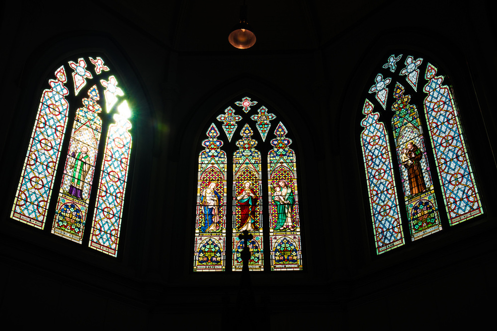 An example of one set of the church's famous stained glass windows. -5DS