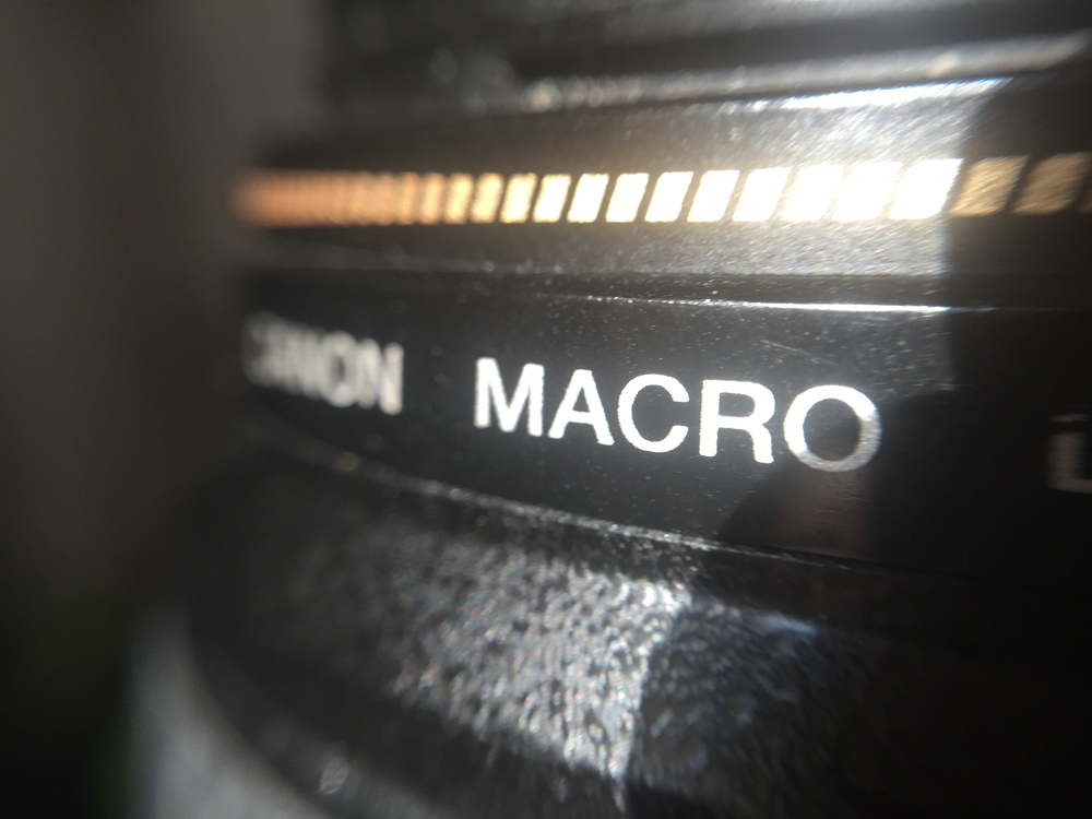 This is another macro photo, this time showing how much bigger the word MACRO looks when shot using this new macro lens!