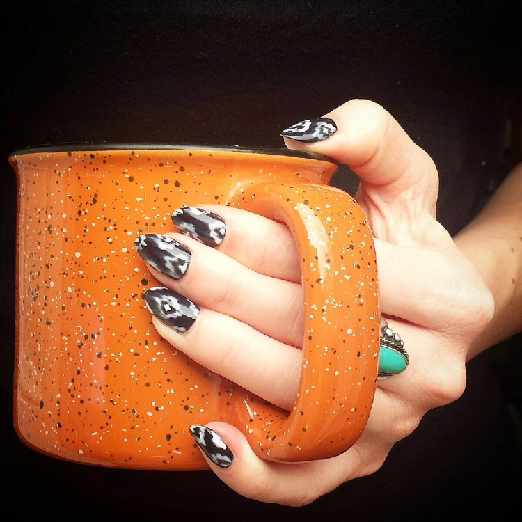 Textured nail art with neutral colors create a versatile look ...