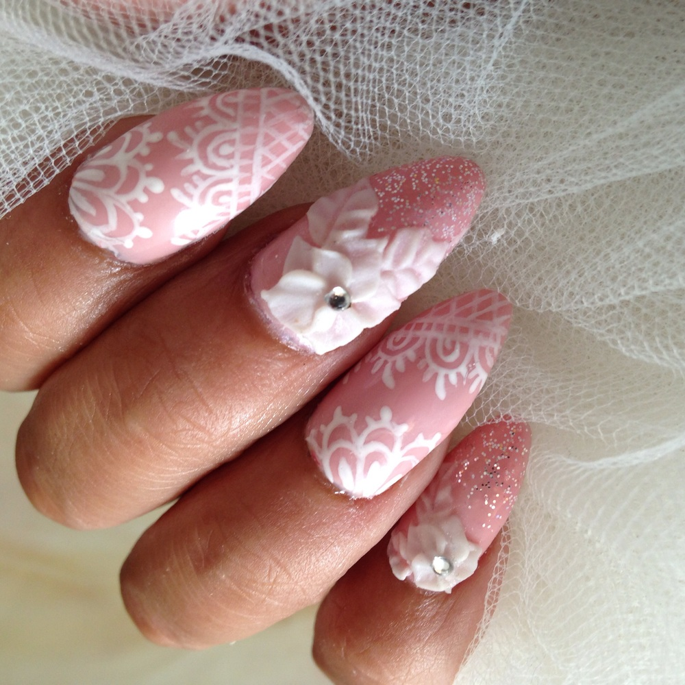 Wedding Acrylic Nail Art with 3d Nail Design