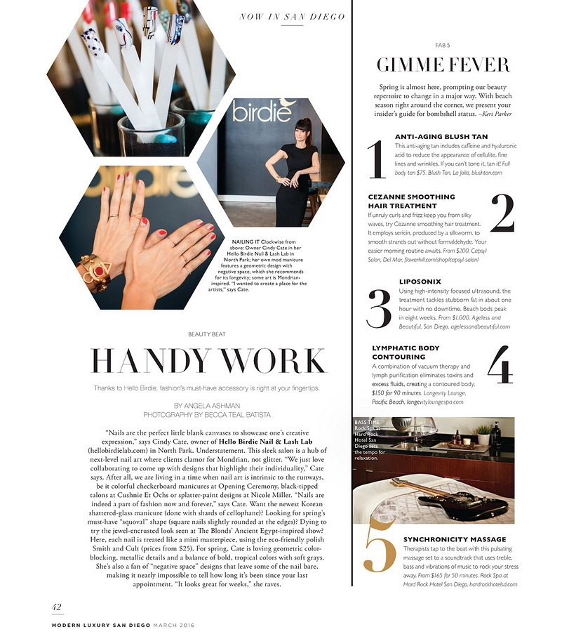 Hello Birdie Owner, Cindy Cate featured in Modern Luxury San Diego