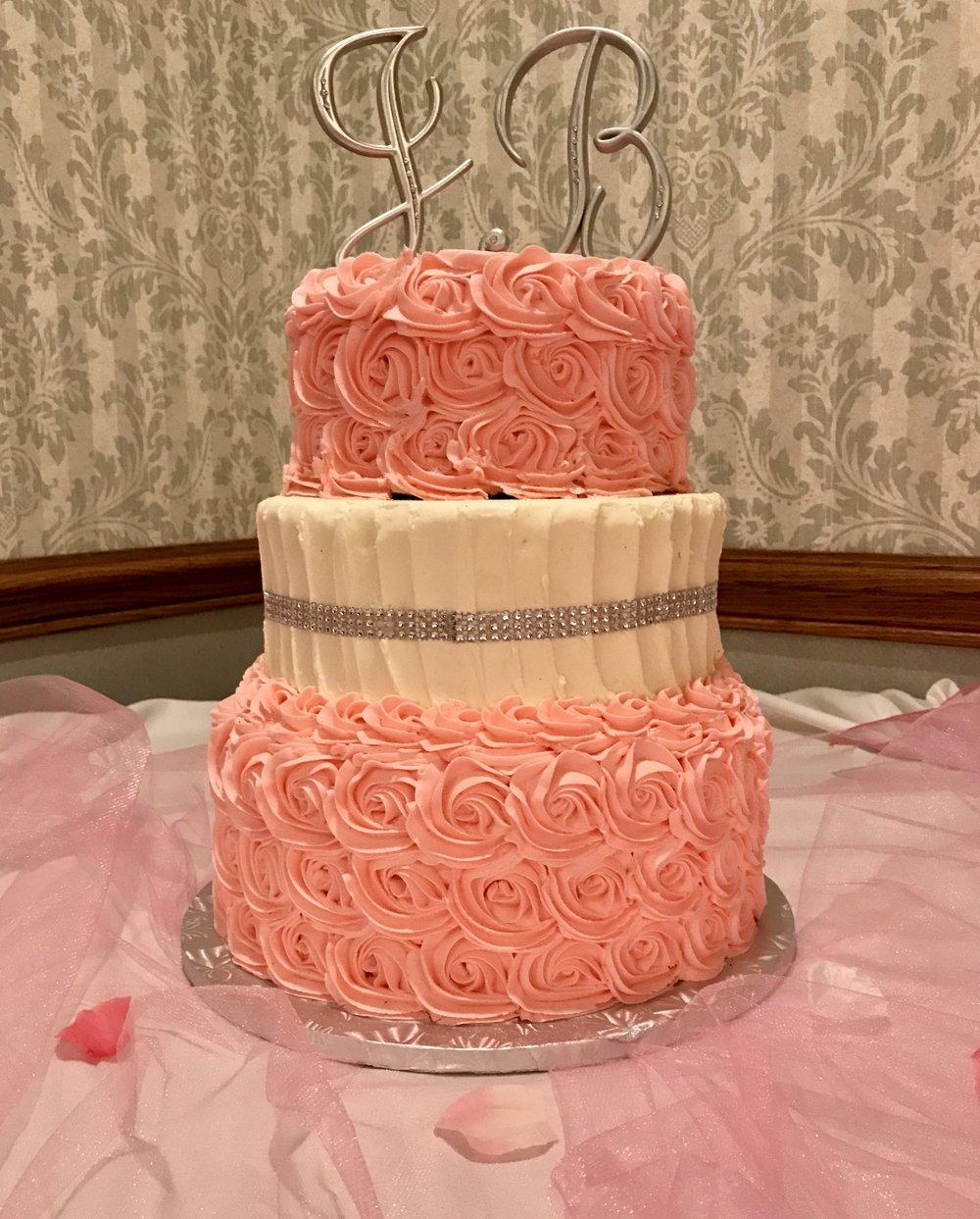 Wedding3tierpinkwhiteRosettes.jpg
