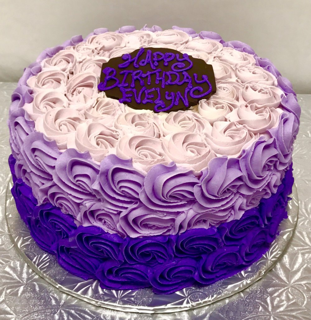 "- 6"" cake serves 8 - 12 people ($30)8"" cake serves 14 - 20 people ($45)10"" cake serves 22 - 30 people ($59)12"" cake serves 34 - 50 people ($80)14"" cake serves 50 - 75 people ($110)"