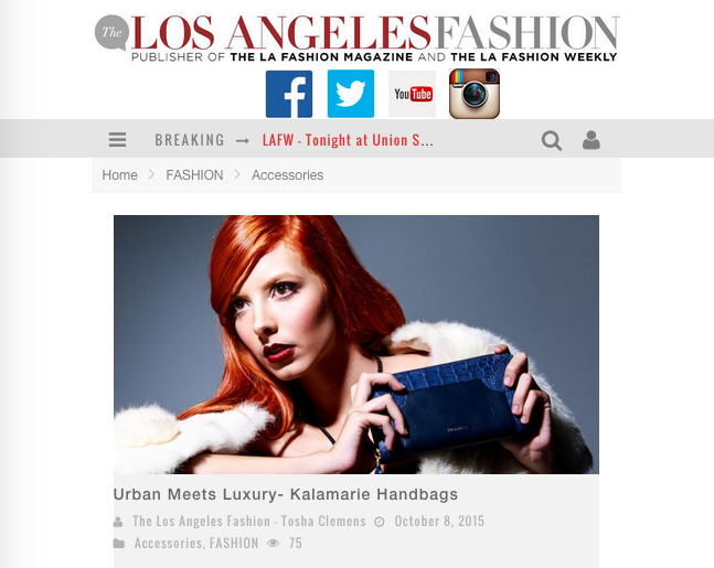 Kalamarie Handbags Featured at The Los Angeles Fashion Magazine