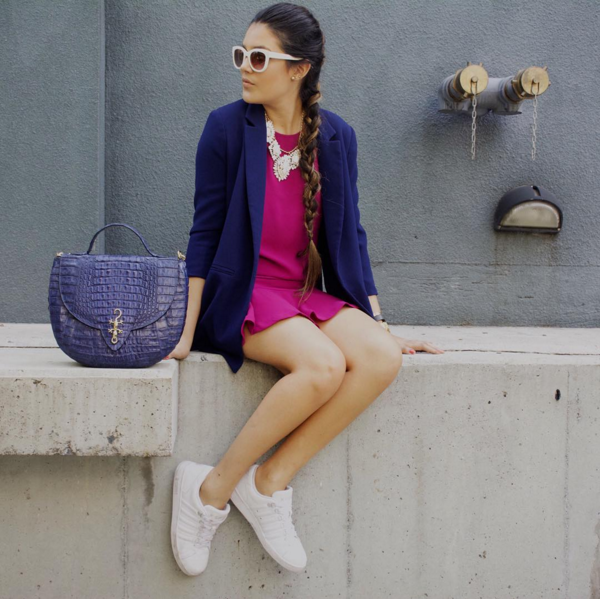 Blogger Oh lalalita wears Josephine Sadlle All Croc Navy