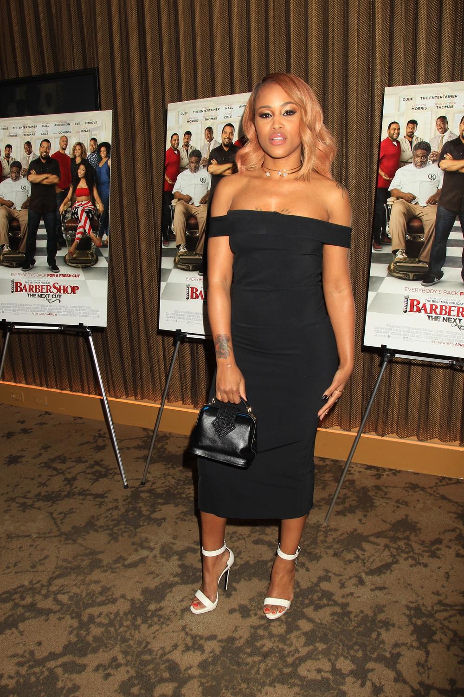 Eve wears Kalamarie for Barber Shop HBO screening.