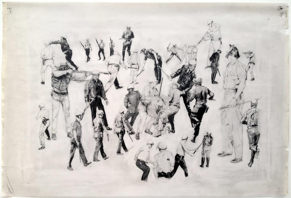 "Riot Police 36""x24""2012"