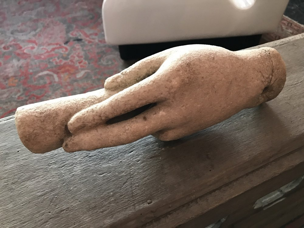 Carved Marble Hand support