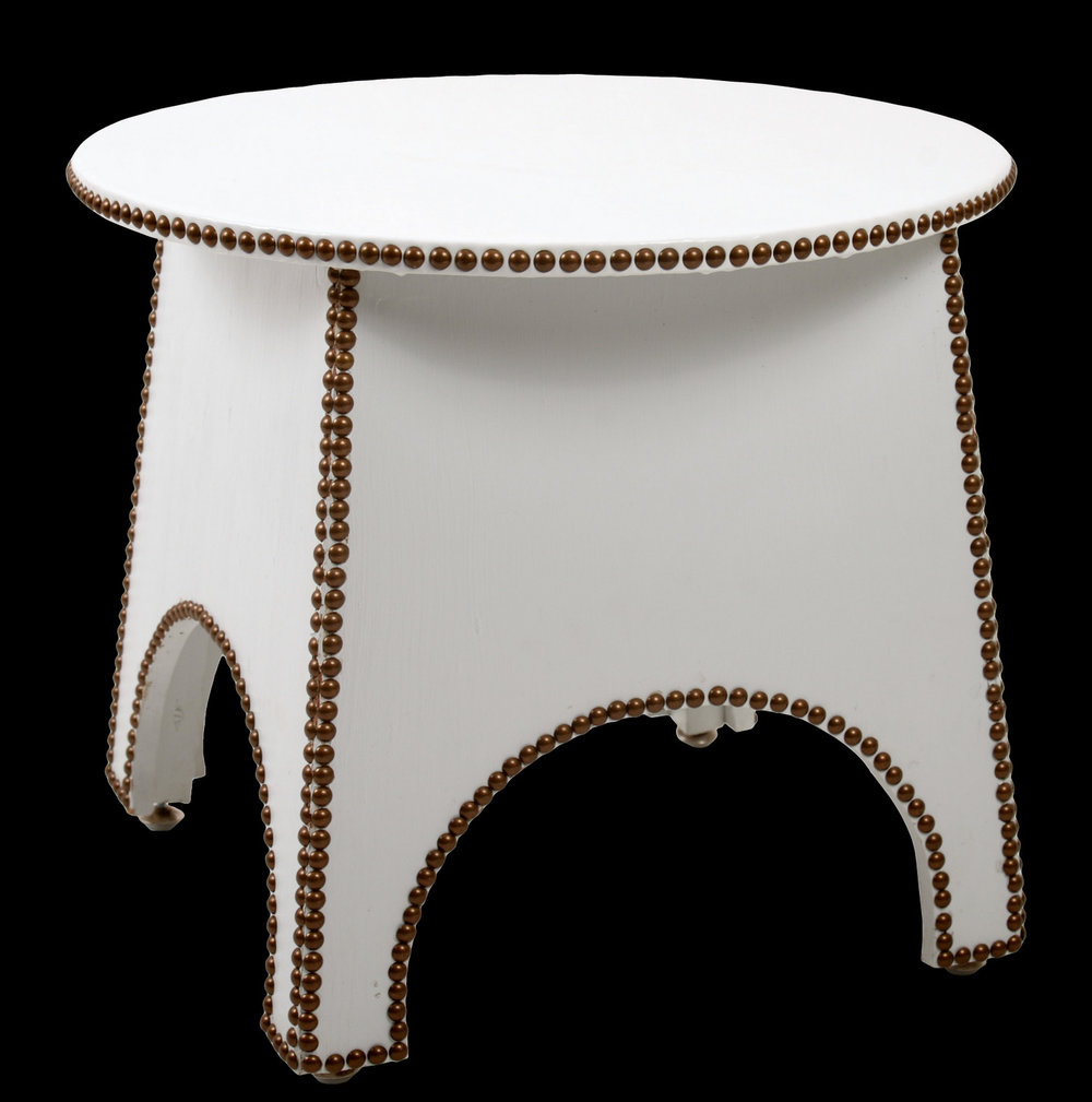 Upholstered Table With Nailhead Trim