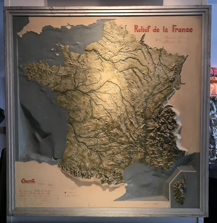 French Topographical Map Kirk Albert Vintage Furnishings