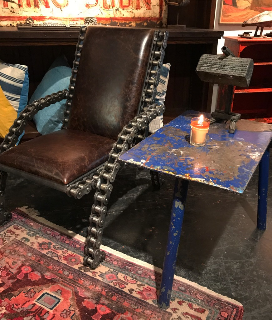 Paint Booth Table and Chain Chair