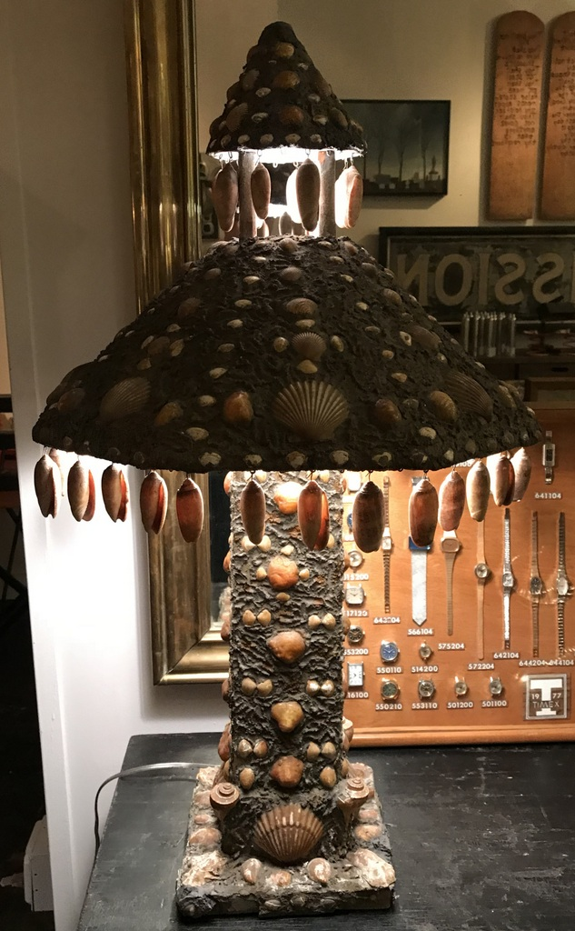 Turn of the Century Shell Encrusted Lamp