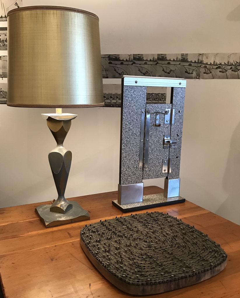 Gold and Gray Table Lamp