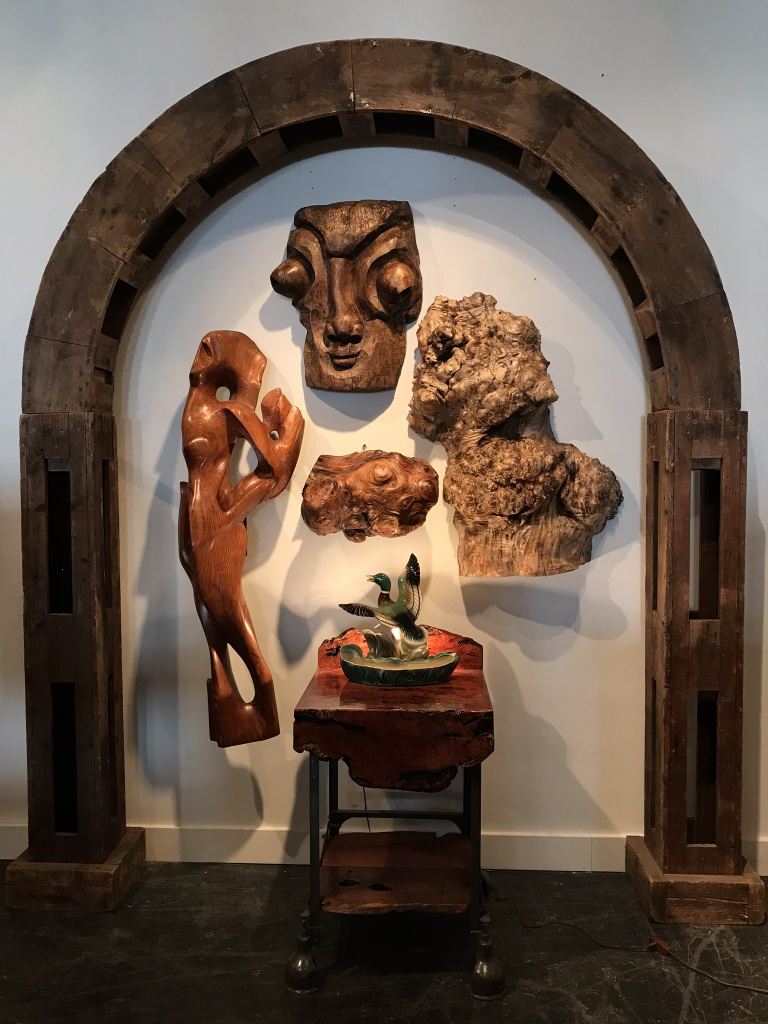 Carved Face Burl Wall