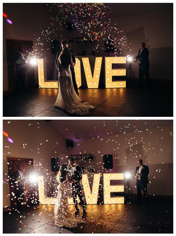 Quantock Lakes Winter Wedding Confetti Canon First dance.jpg