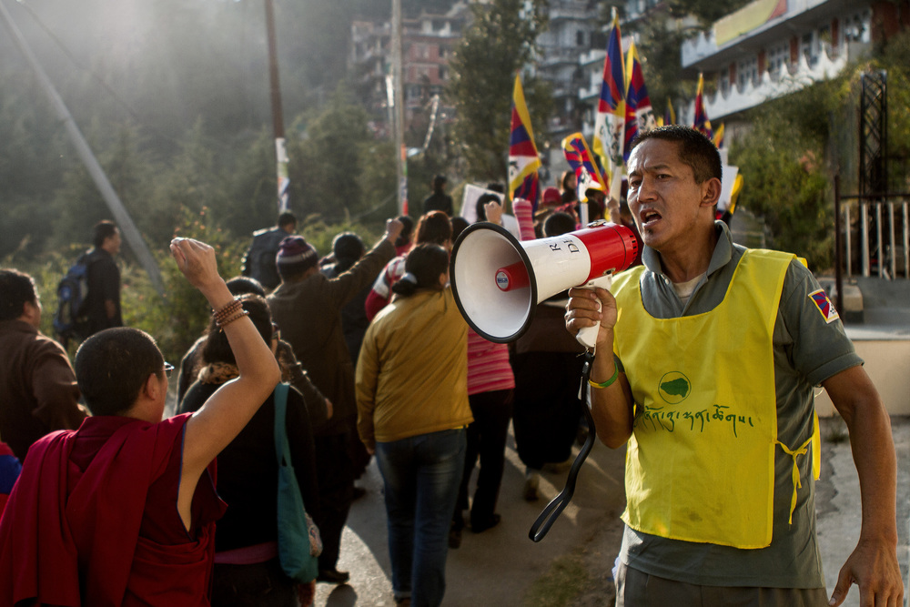 8 November, 2012 - McLeod Ganj   The Tibetan Youth Congress leads demonstrators through the streets of McLeod Ganj following six self-immolations in Tibet in two days.