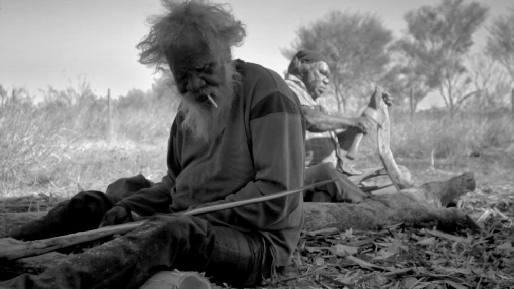 25 June, 2012 - Wirrimanu   Wirrimanu Elders Larry and Bonnie weapon making at Men's Camp