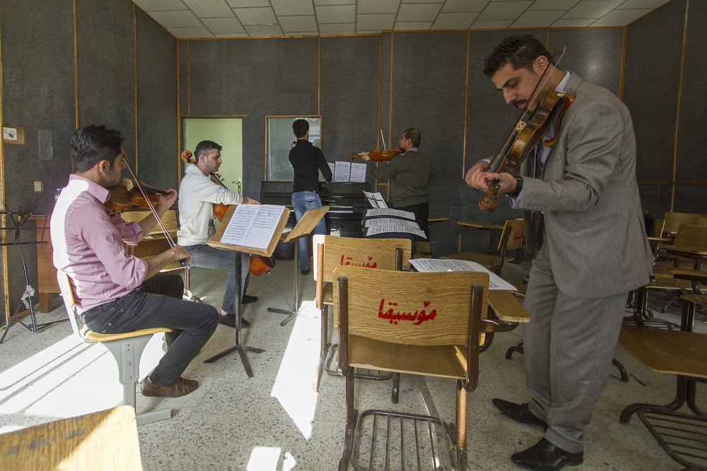 12 December, 2012 - Sulayman  iyah, Iraqi Kurdistan   Rehearsal at the Fine Arts Institute of Sulaymaniyah. Many former students of the National Youth Orchestra of Iraq have subsequently formed their own chamber orchestras or become conductors or composers in their own right.