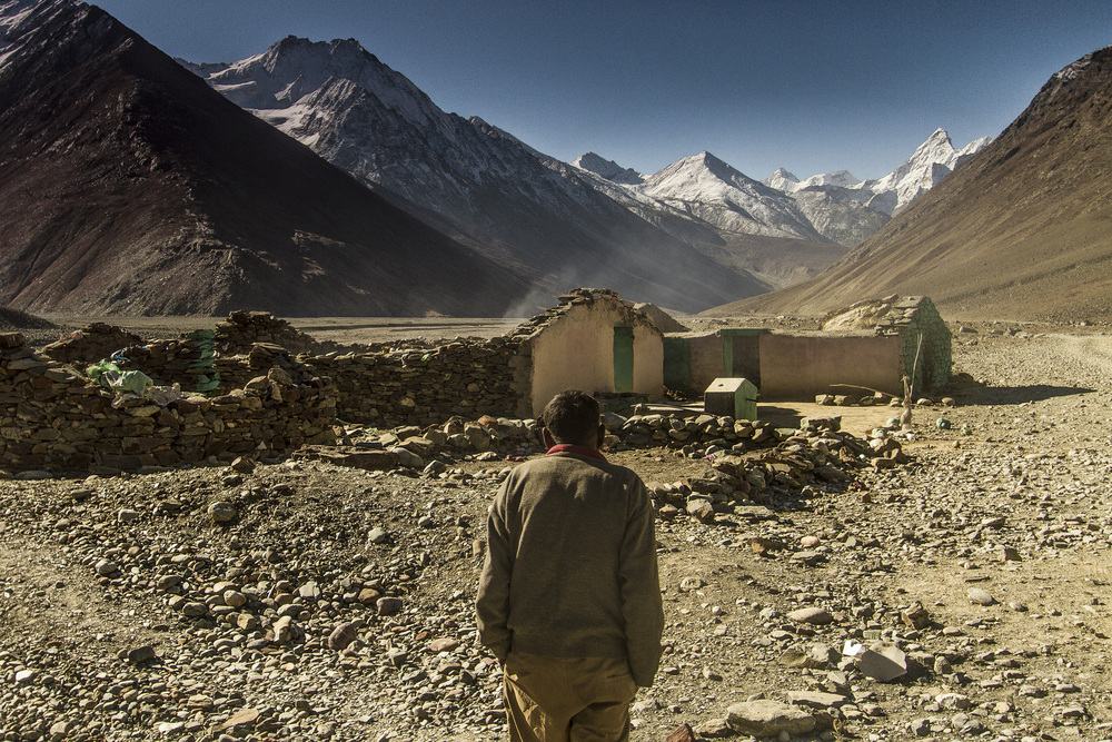 13 October, 2012 - Spiti Valley, between Kunzum & Rohtang Passes   Abandoned nomads huts on the floor of Spiti Valley