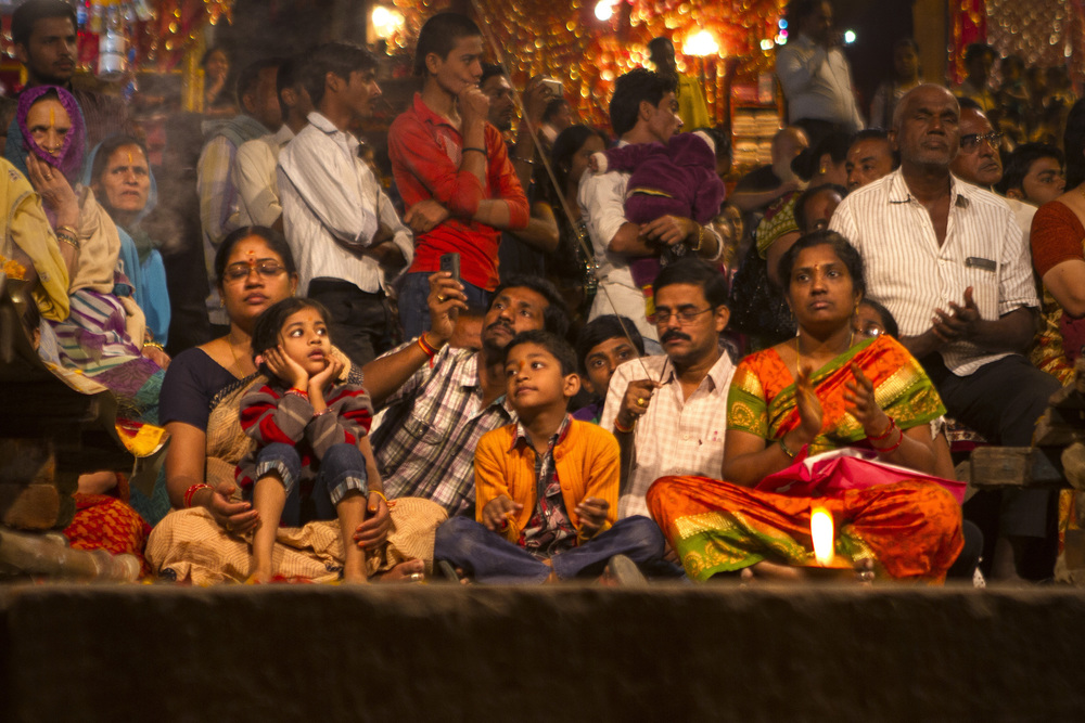 14 November, 2012 - Dashashwamedh Ghat, Varanasi   Family attending Ganga Aarti Ceremony