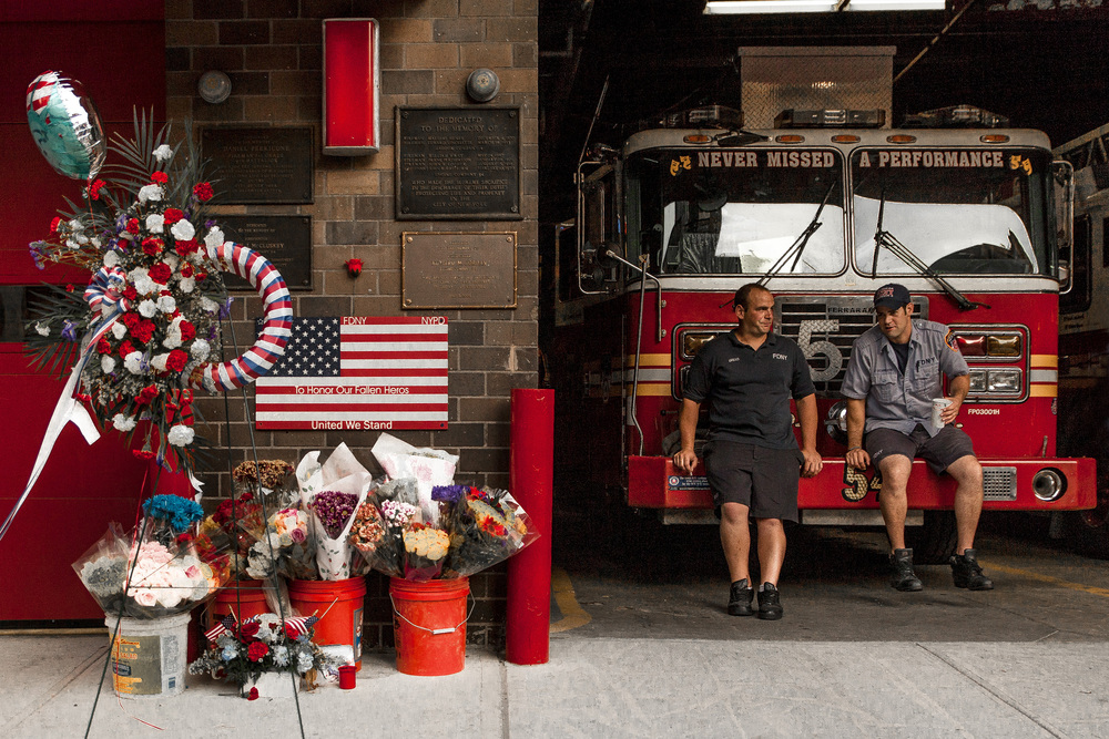 11 September, 2013 - New York, U.S.A.   Memorial at New York Fire Department Engine 54 on the 12th anniversary of the September 11th terrorist attacks