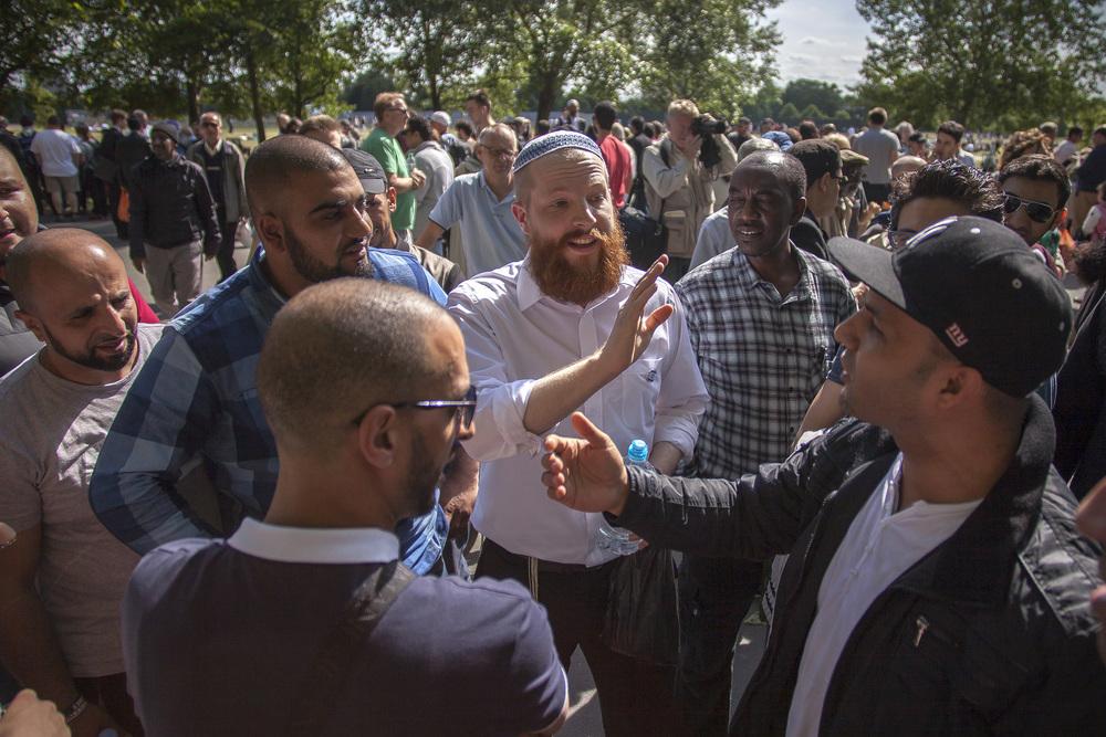 Speakers Corner, Hyde Park, London   An Israeli man debates with Palestinians at Speakers Corner, a site of public debate in London for over a century.
