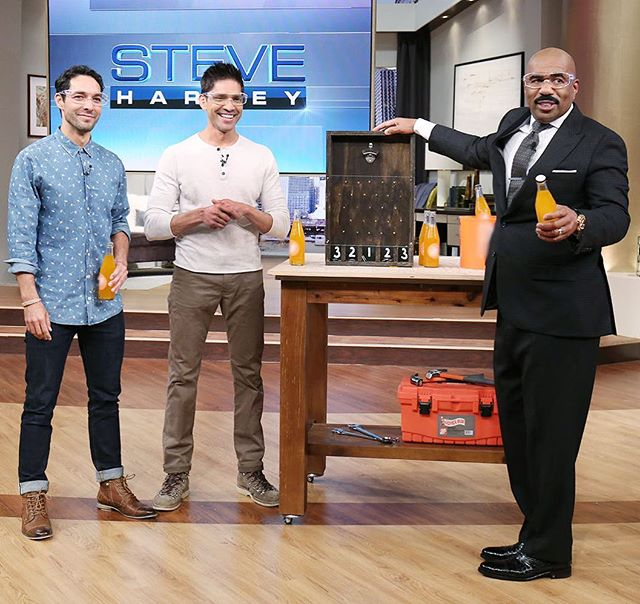 Owners @shanerduffy and @sandysdias show @iamsteveharveytv how to build a bottle cap game tomorrow. Tune in and find out the tips from the experts.