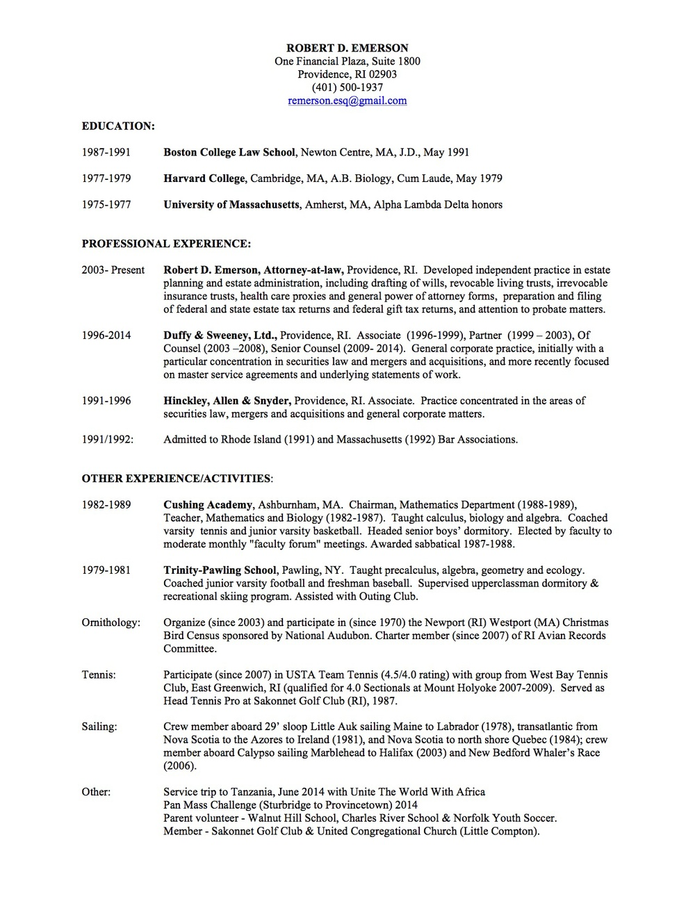 Resume — Robert D. Emerson, Attorney at Law