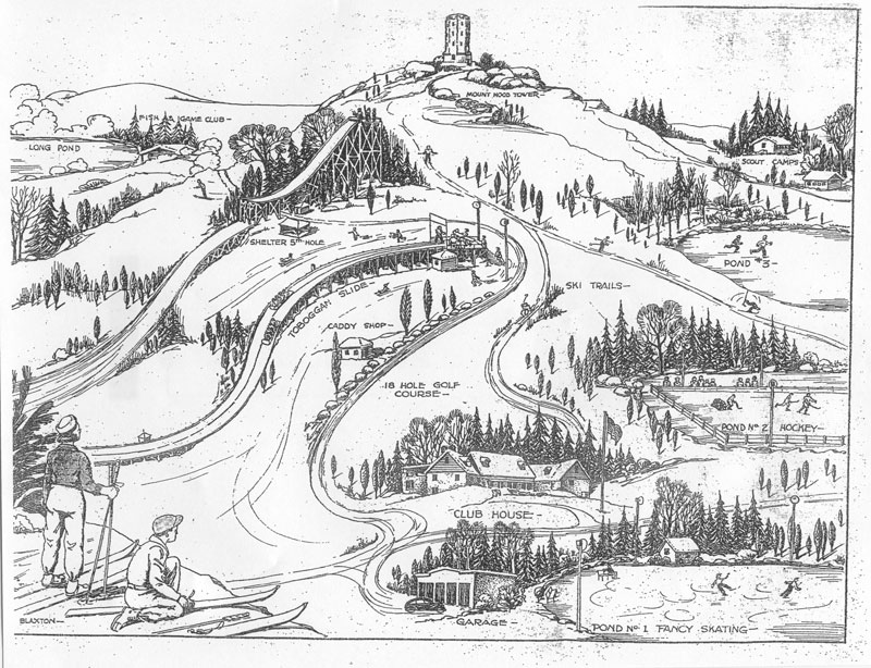 A pictorial representation of the many winter activities at Mount Hood in the 1940's.